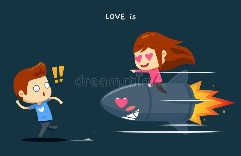 Un ragazzo è inseguito da una ragazza sopra il razzo illustrazione vettoriale