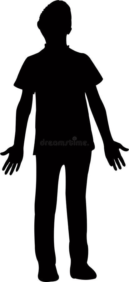 Un ragazzo apre il vettore della siluetta delle mani royalty illustrazione gratis