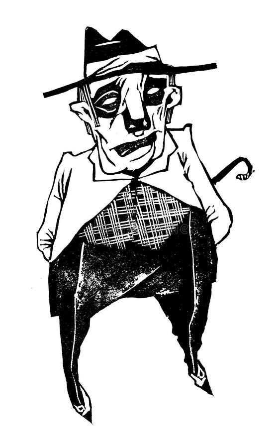 Un ragazzo cattivo sicuro e calmo in una maglia a con ed è venuto Siply chiamato Bani illustrazione vettoriale