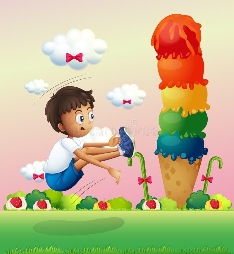 Un ragazzo che si esercita vicino al gelato gigante royalty illustrazione gratis