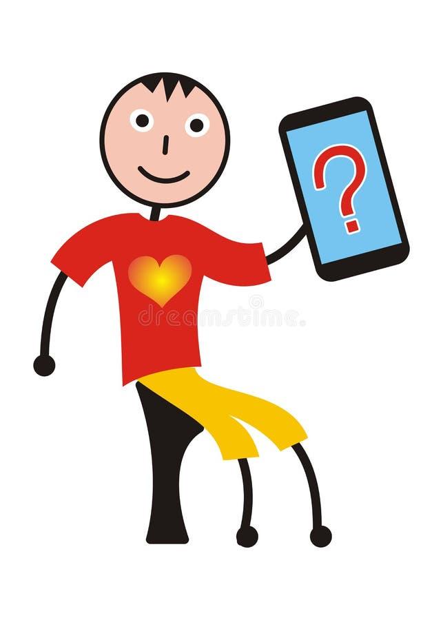 Un ragazzo con un cuore su una maglietta e su una compressa su cui un punto interrogativo è indicato illustrazione di stock