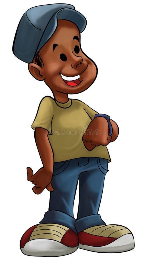 Un ragazzo con la vigilanza illustrazione vettoriale