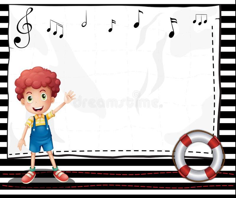 Un ragazzo con un contrassegno vuoto con le note musicali illustrazione vettoriale