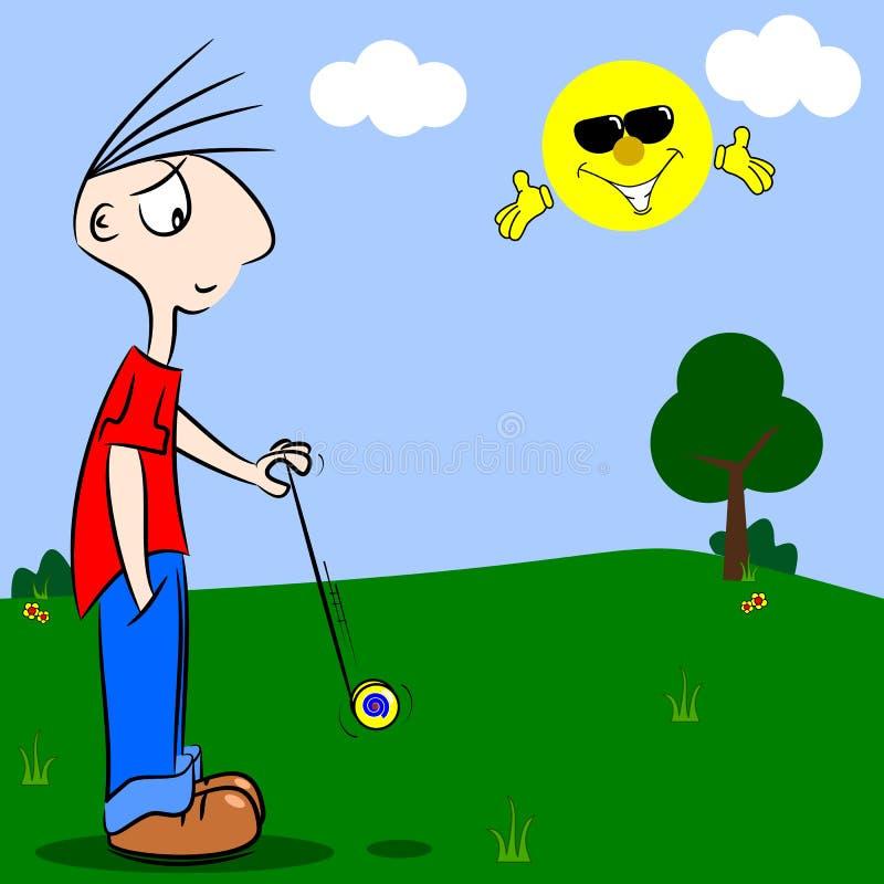 Un ragazzo del fumetto che gioca con un yo-yo illustrazione vettoriale