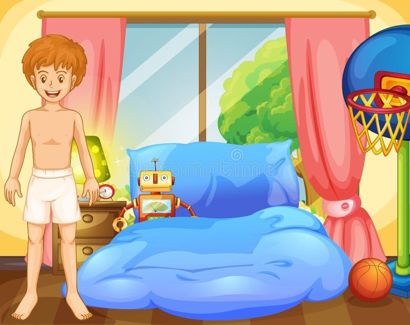 Un ragazzo dentro la sua stanza con un robot e una rete di pallacanestro illustrazione vettoriale