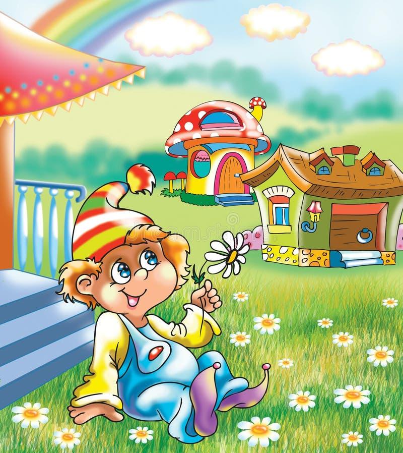 Un ragazzo divertente vicino alla casa illustrazione vettoriale