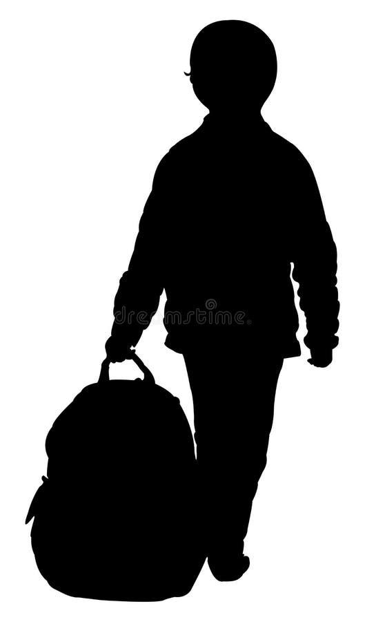 Un ragazzo e la sua borsa illustrazione di stock