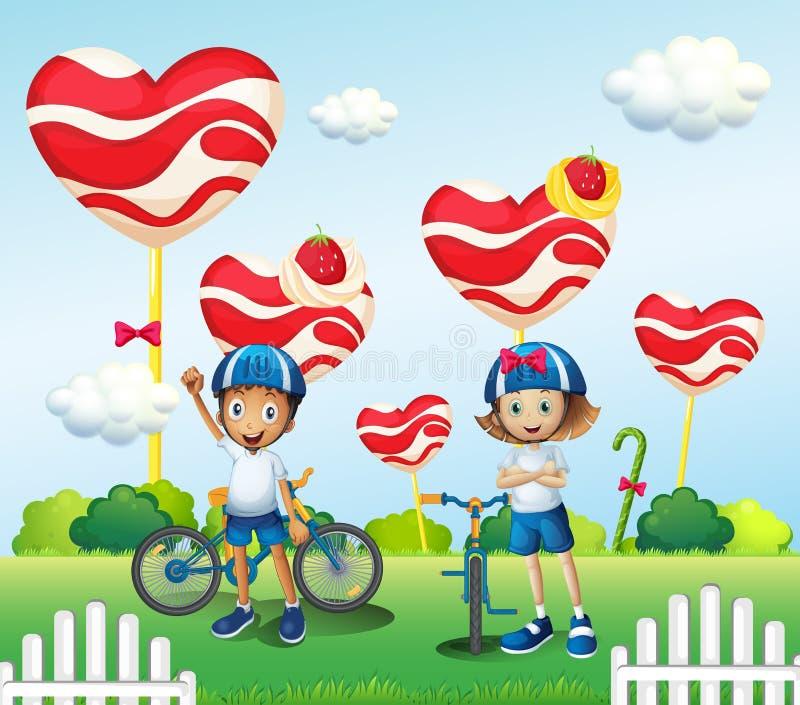Un ragazzo e un ciclismo della ragazza vicino alle lecca-lecca giganti illustrazione vettoriale