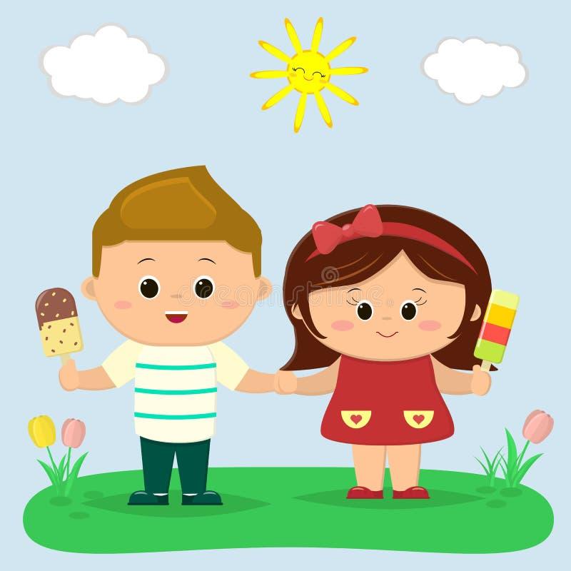 Un ragazzo e una ragazza stanno tenendo il gelato Radura con i tulipani, il sole ed il cielo illustrazione vettoriale