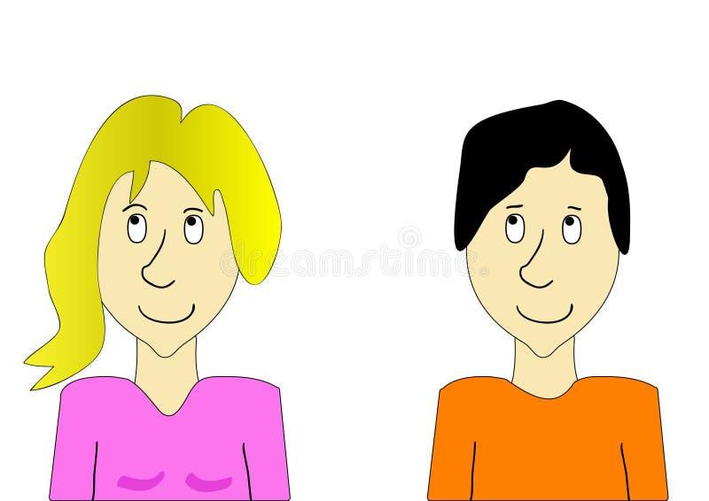 Ragazzo e ragazza che guardano su illustrazione di stock