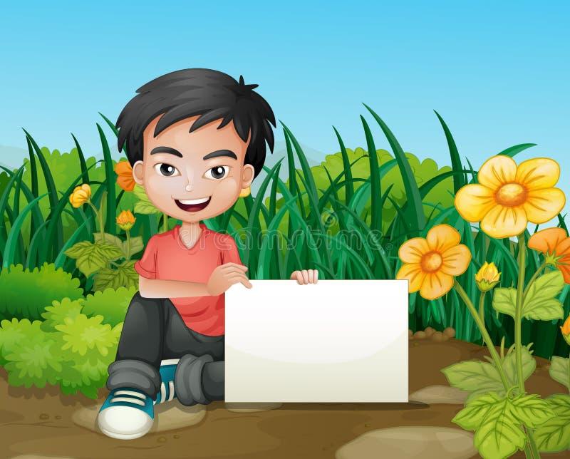 Un ragazzo sorridente che tiene un contrassegno vuoto nel giardino illustrazione di stock