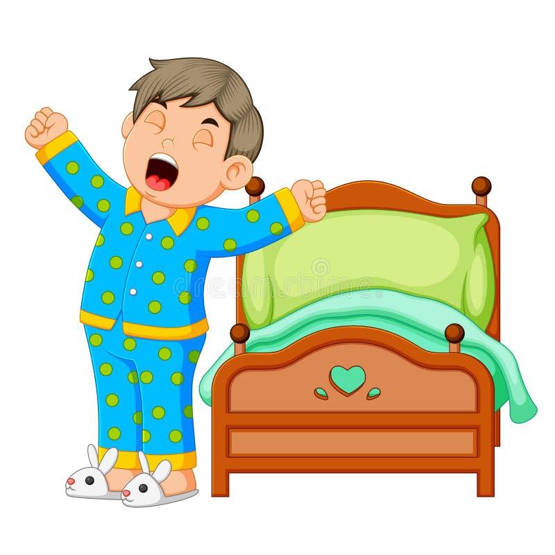 Un ragazzo sveglia ed allungando nella mattina royalty illustrazione gratis