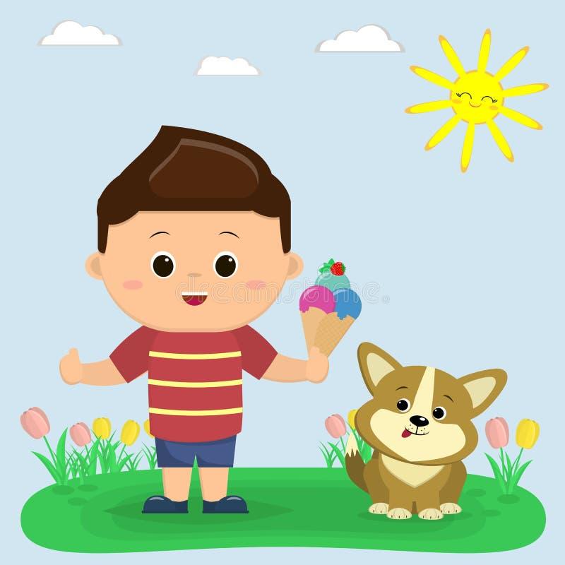 Un ragazzo in una maglietta rossa e negli shorts blu sta tenendo il gelato Accanto lui si siede un Corgi del cucciolo Radura con  illustrazione di stock