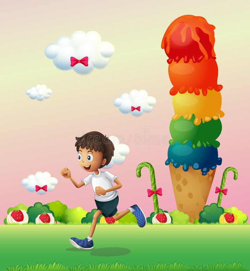 Un ragazzo in una terra in pieno dei dolci royalty illustrazione gratis