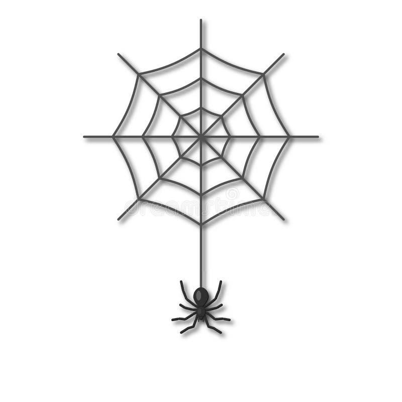Un ragno che appende su una ragnatela illustrazione di stock