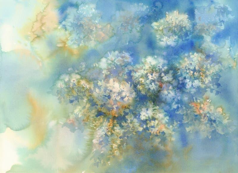 Un ramo de flores azules, ejemplo de la acuarela de las hortensias libre illustration