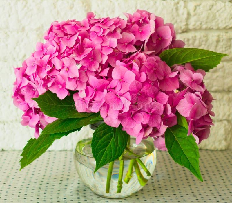 Un ramo de Hortensia rosado en un florero en la tabla Primer imágenes de archivo libres de regalías