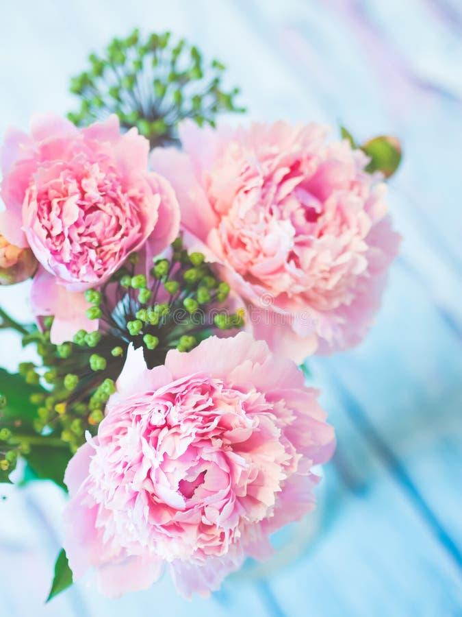 Un ramo de peonías rosadas hermosas en una tabla de madera azulada contra fondo suave-enfocado fotografía de archivo libre de regalías