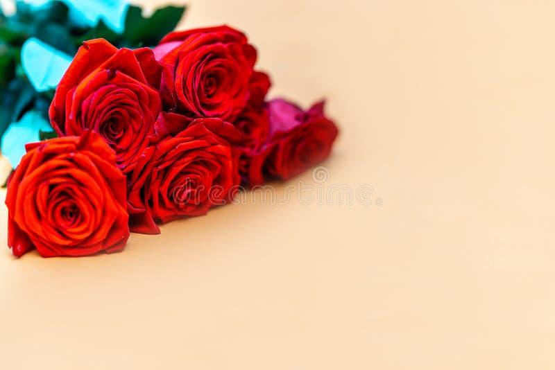 Un ramo de rosas rojas en fondo del begie foto de archivo