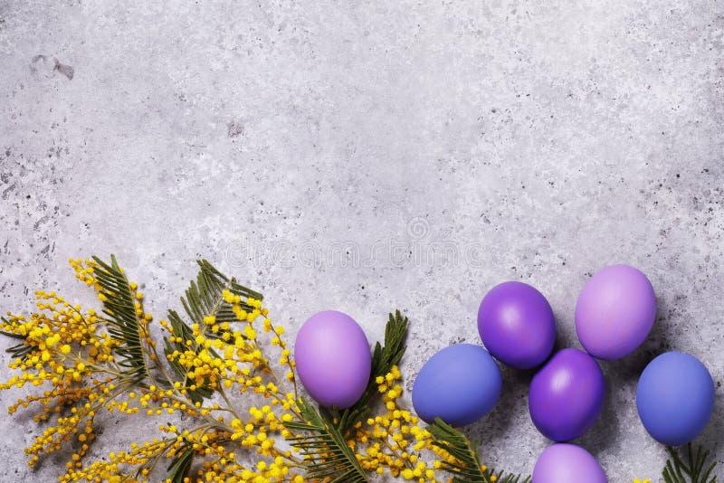 Un ramo della mimosa e delle uova di Pasqua decorate in vari colori su una lavagna con lo spazio della copia fotografia stock