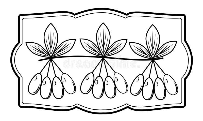 Un ramo di bella bacca del corniolo, pianta medicinale Bacche deliziose utili di medicina e di nutrizione Immagine grafica nel te illustrazione di stock