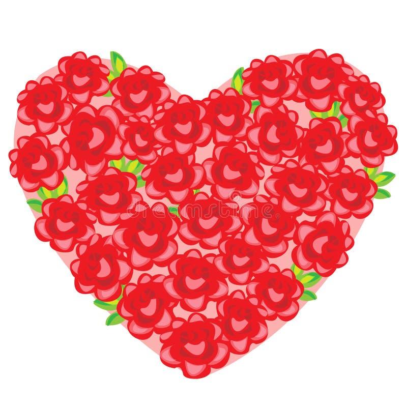 Un ramo grande de rosas rojas maravillosas en la forma de un corazón un regalo romántico a su querido el día de la tarjeta del dí ilustración del vector