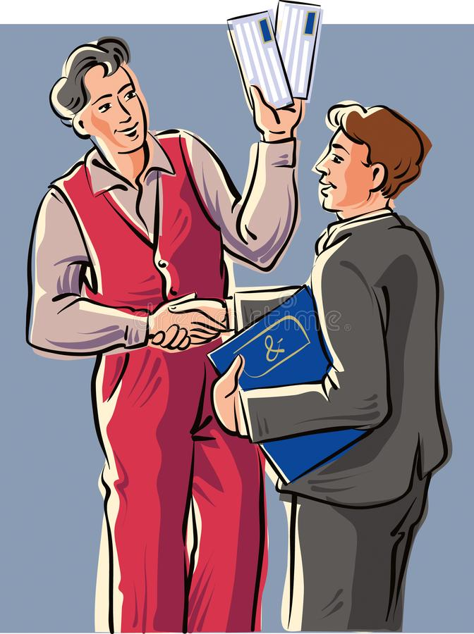 Un rappresentante con un cliente royalty illustrazione gratis