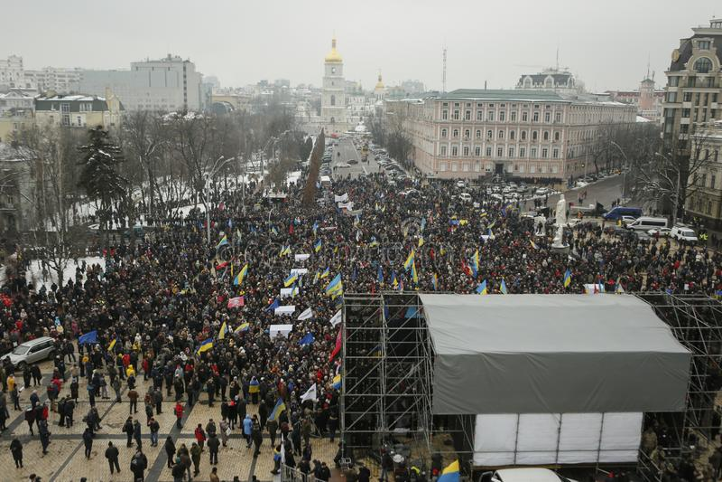 Un rassemblement à Kiev, Ukraine, le 18 février 2018 images stock