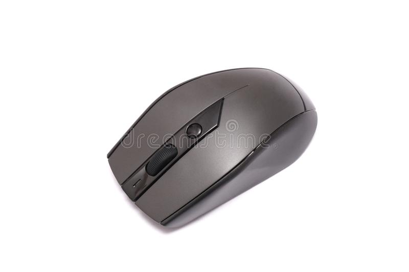 Un ratón óptico gris oscuro del ordenador imagenes de archivo