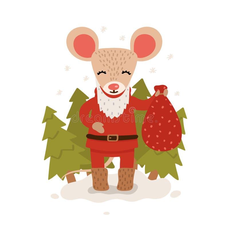 Un ratón con un bolso de regalos entre los árboles de navidad Car?cter de la Navidad y del A?o Nuevo aislado en un fondo blanco p stock de ilustración
