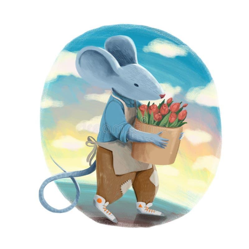 Un ratón gris en chaqueta azul y pantalones marrones sostiene el cubo con el ramo de flores color de rosa en el fondo del azul de stock de ilustración