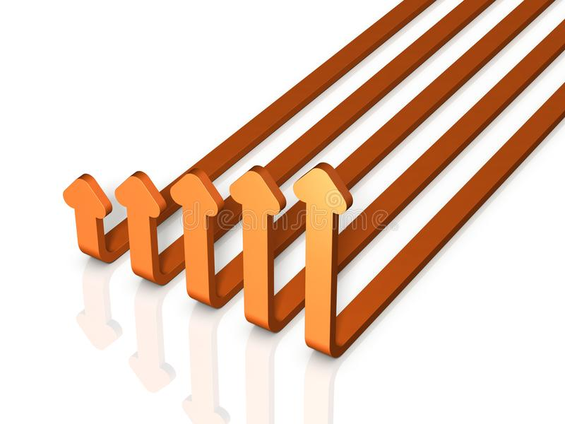 Un razzo pirotecnico di cinque frecce Assomiglia ad un aumento del grafico royalty illustrazione gratis