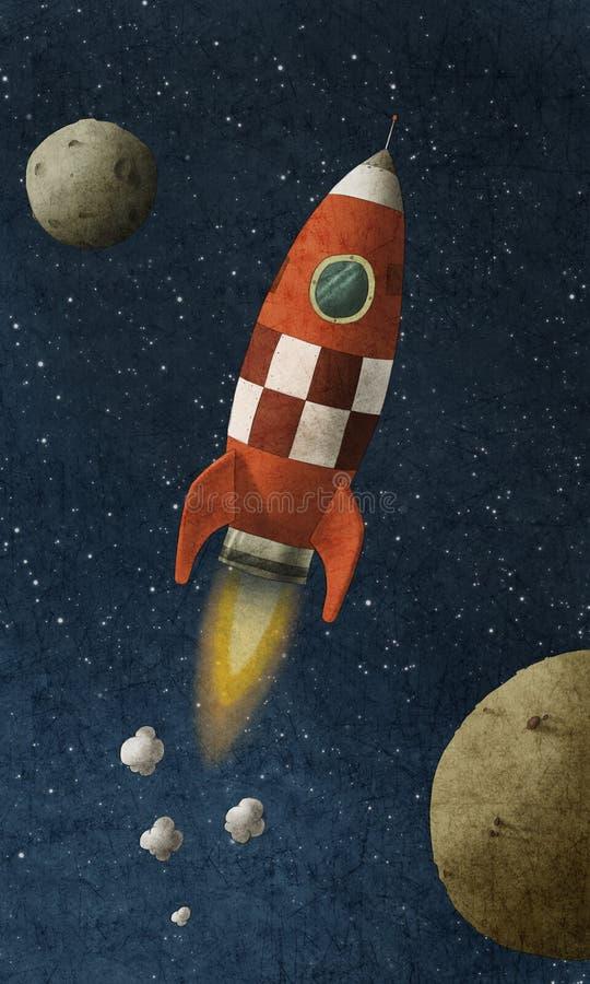 Il razzo rosso vola attraverso spazio illustrazione di stock