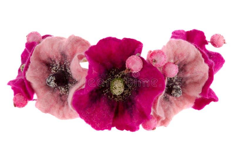 Un recuerdo hermoso del Malva de la flor hecho de lanas imagenes de archivo