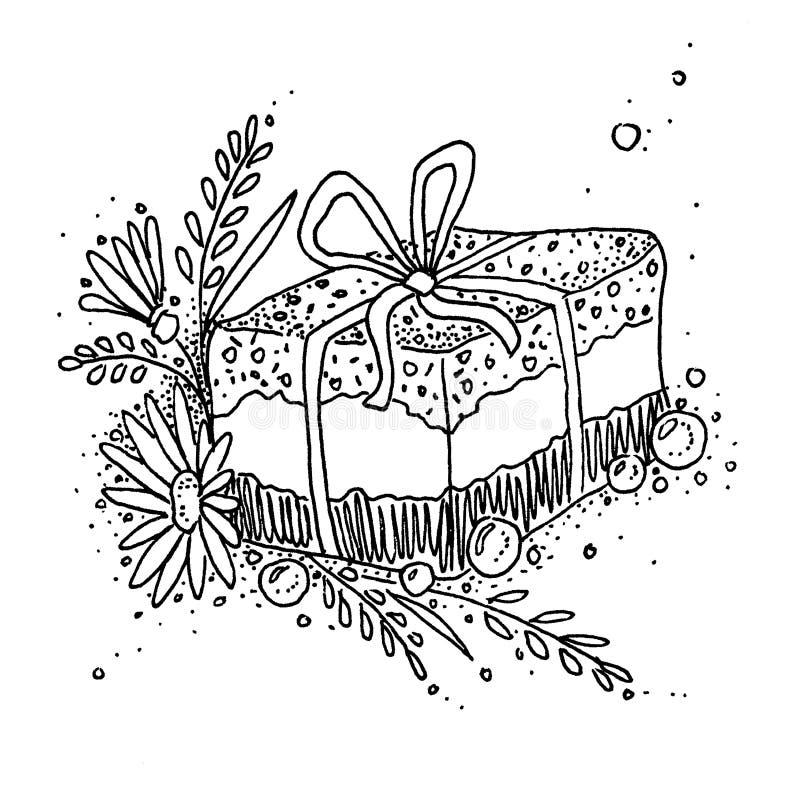 Un regalo con i sapori naturali Erbe, fiori secchi, fiori, piante illustrazione di stock
