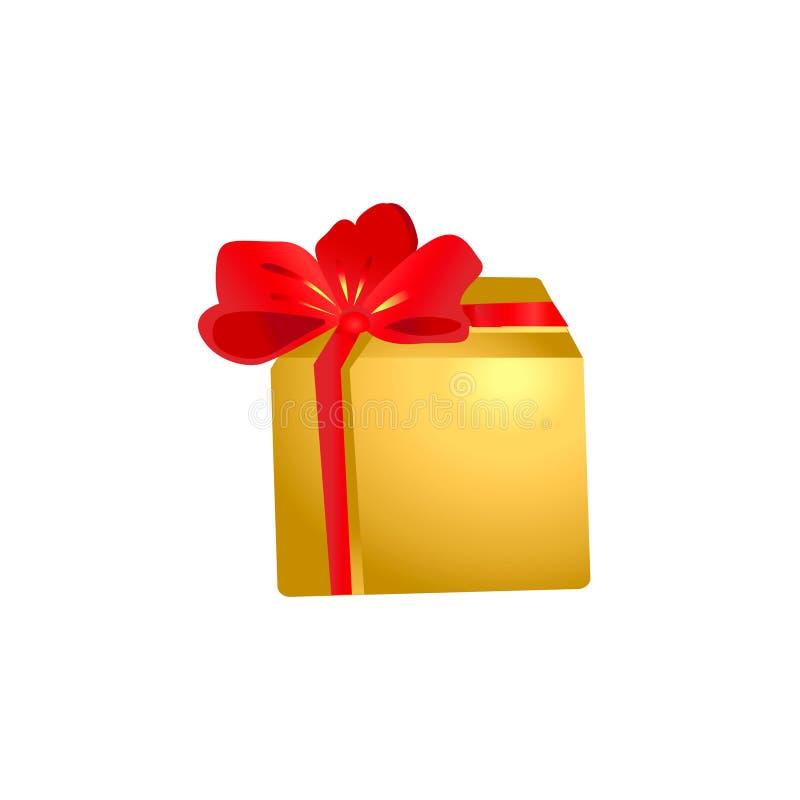 Un regalo en una caja del oro con un arco grande rojo ilustración del vector