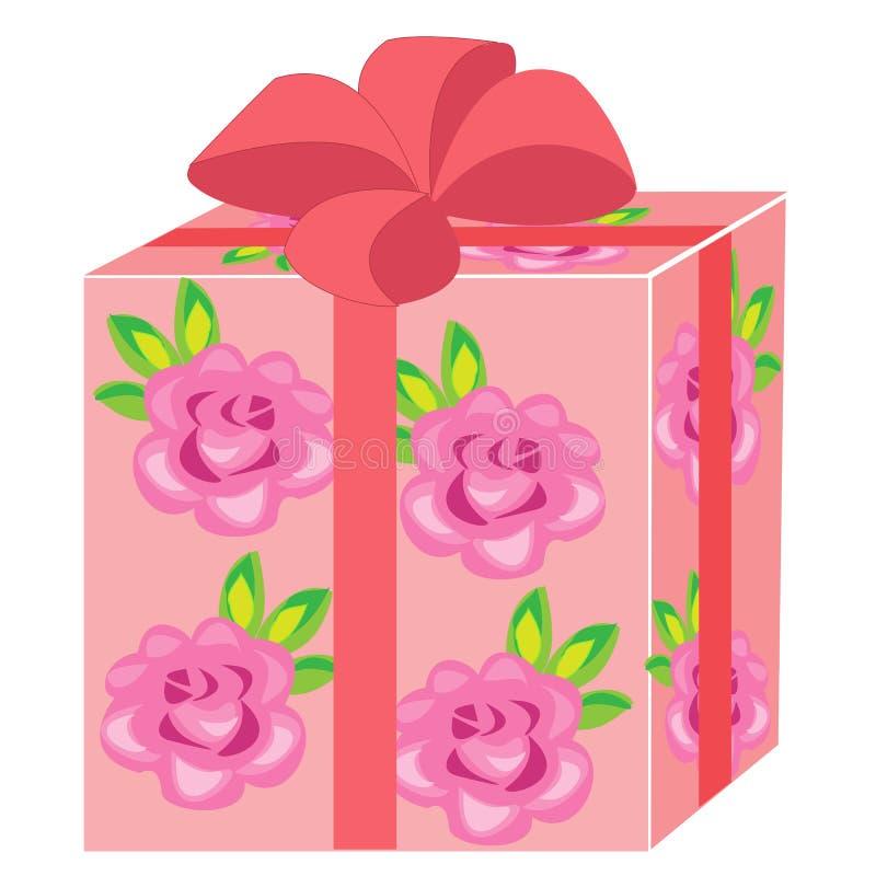 Un regalo hermoso La caja se embala por un día de fiesta El paquete es rosado, adornado con las rosas El arco rojo se ata en el t stock de ilustración