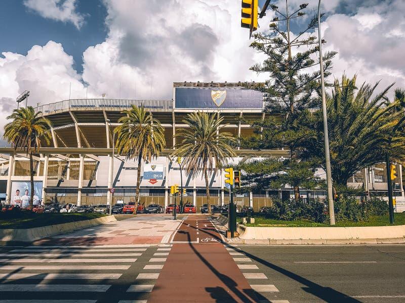 Un regard à l'intérieur du stade de football de Malaga images libres de droits