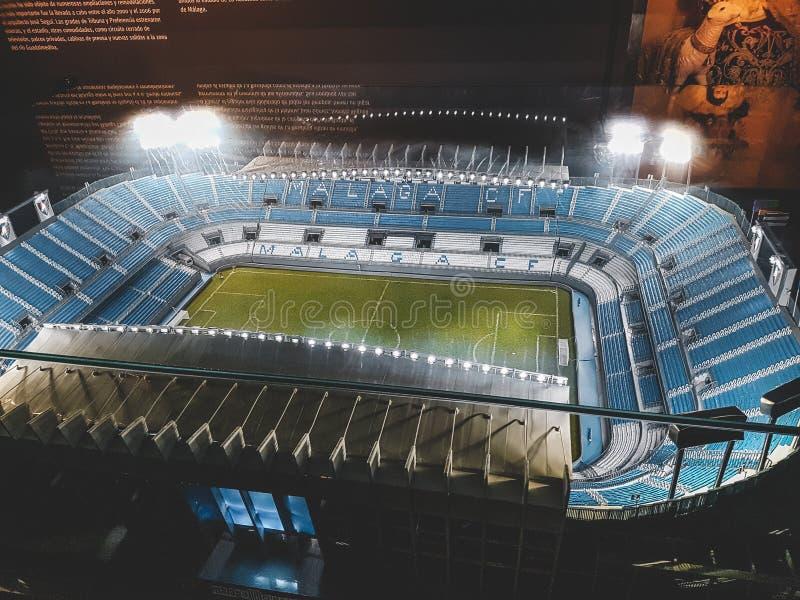 Un regard à l'intérieur du stade de football de Malaga photos stock