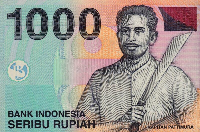 Un regard étroit de billet de banque de 1000 roupies images stock