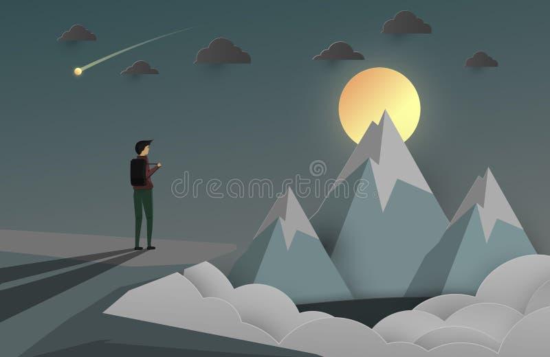 Un regard d'homme à la crête de la montagne fond d'affaires pour l'étoile illustration de vecteur
