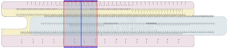 Un regolo calcolatore usato come calcolatore pre-elettronico di età illustrazione vettoriale