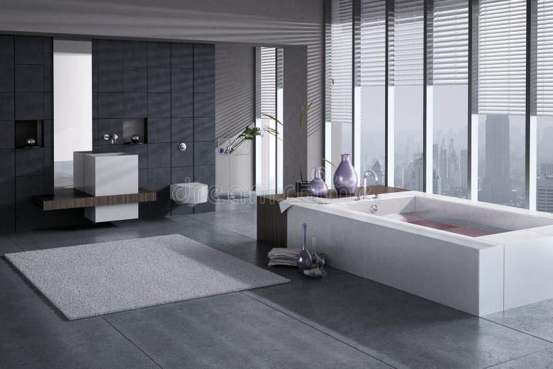 Un rendu 3D de salle de bains moderne avec le bassin et le jacuzzi simples illustration libre de droits