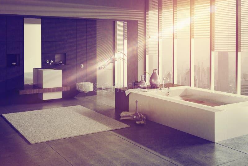 Un rendu 3D de salle de bains moderne avec le bassin et le jacuzzi simples illustration stock