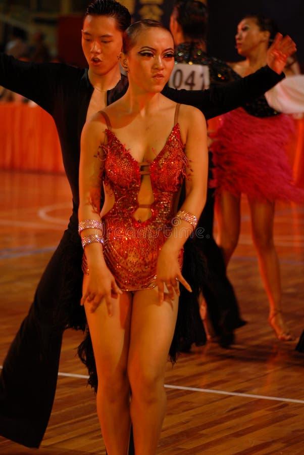 Un ressortissant soucieux de danse de norme internationale de la joueur-Chine Nan-Tchang ouvert images libres de droits