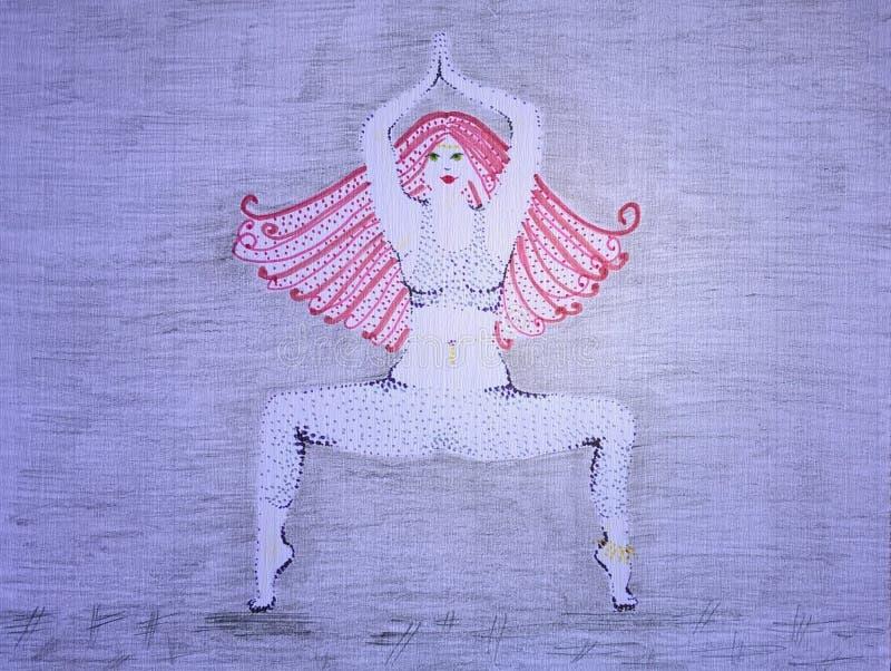 Un retrato de la mujer hermosa que está practicando actitud de la yoga en el fondo gris - ejemplo hecho a mano imágenes de archivo libres de regalías