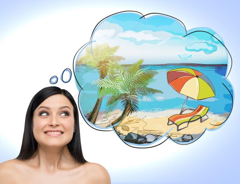 Un retrato de la mujer morena asombrosa que sueña sobre vacaciones de verano en la playa Un lugar agradable del verano se dibuja  ilustración del vector