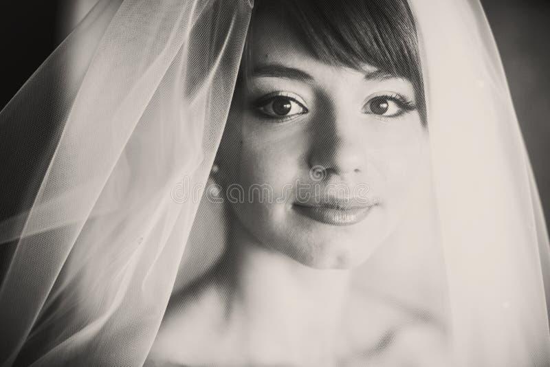 Un retrato de la novia joven hermosa cubierta con un velo imágenes de archivo libres de regalías