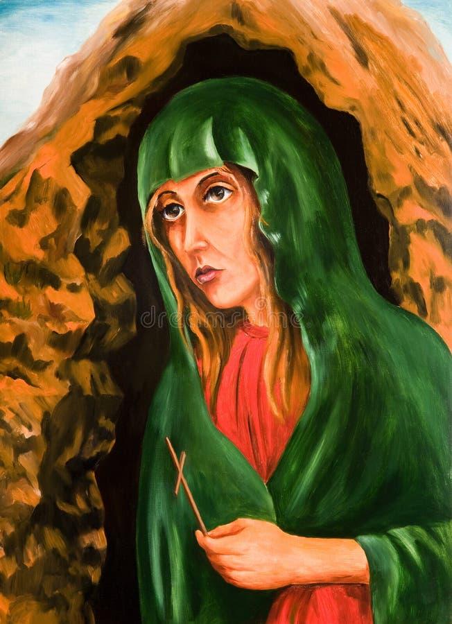 Un retrato de Mary Magdalene con una cruz a disposición stock de ilustración