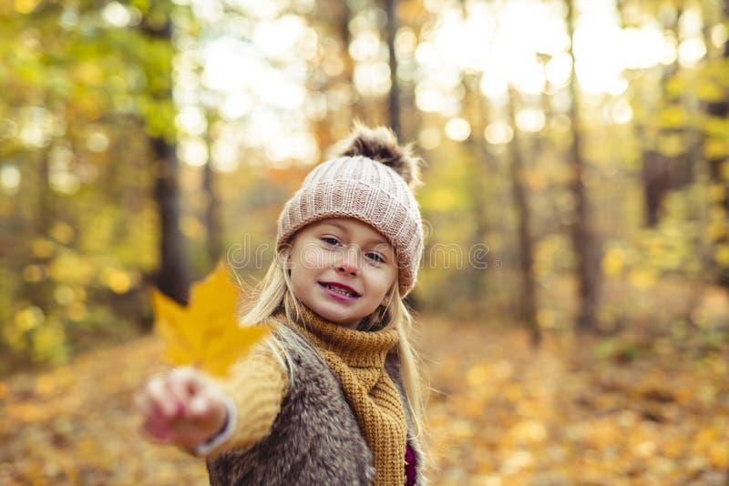 Un retrato del otoño de la muchacha rubia linda del niño fotografía de archivo libre de regalías